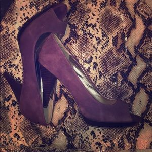 Beautiful Purple Suede Peep Toe Heels 11 Style & C